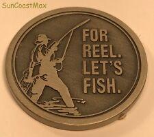 """New Hallmark Pewter Good Luck Token 1.5"""" across FOR REEL. LET'S FISH"""