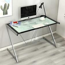 CTF Columbus World Map Tempered Glass Computer Desk With Silver Frame