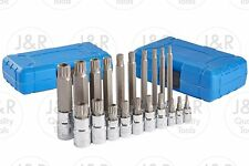 20pc XZN 12 Point MM Triple Square Spline Bit Socket Set Tamper Proof Long Reach