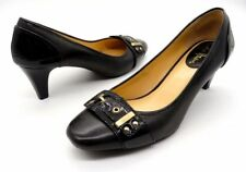 COLE HAAN Size 7 Black Leather Gold Hardware Low Heel Pump Slip On Shoes
