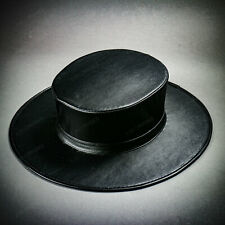 Steampunk Plague Doctor Flat Top Hat - Black