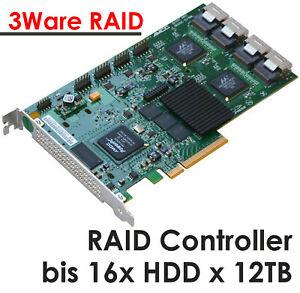 Pcie 8x S-ATA Raid Controller Lsi 3ware 9650SE-16ML Cable For 16 Hdds A.12TB