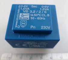Block Type VB3,2/2/6 Transformer Prim: 230V Sec: 2 X 6V @ 1.6VA OM0322i