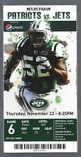 2012 NFL NEW ENGLAND PATRIOTS @ NEW YORK JETS FULL FOOTBALL TICKET - BUTT FUMBLE