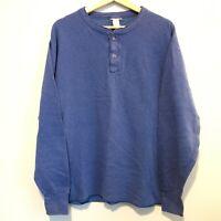 LL Bean River Drivers Henley Shirt Men's Large Wool Blend Long Sleeve Blue