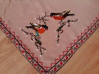"""ANTIQUE Beautiful Vintage Hand Embroidery Tablecloth Cotton Birds Square 29"""""""