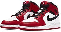 🔥SHIPS TODAY🔥 Nike Air Jordan 1 Mid Chicago GS 554725-173 Bred Black Toe Pine