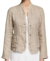 Smart! NWT Eileen Fisher Organic Linen Jacket With Fringe Detail - Size Large