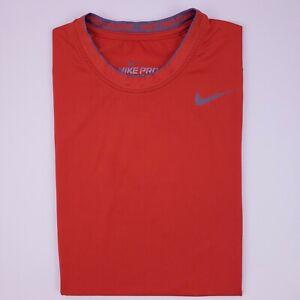 Nike Small T Shirt Orange Pro Combat Fitted Dri Fit Mens Sz S 269609 Swoosh Tee
