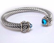 CZ Crystal Cuff Bracelet Silver Gold Turquoise Blue Women Fashion Jewelry