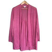 J. Jill Love Linen Pink Open Cardigan Tunic Length Long Sleeve Size L