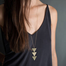Fashion Women Long Gold Triangle Chain Choker Sweater Necklace Chain Jewelry