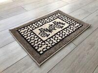 Machine Washable Non Slip Floral Design Doormat Mat Biscuit Dark Beige Brown Rug