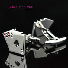 Men's Silver Plated Poker  4 Aces Cards Cufflinks