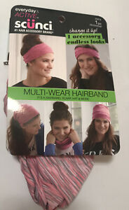 Scunci Everyday & Active Multi-Wear Hairband 1 Piece Pink Gray