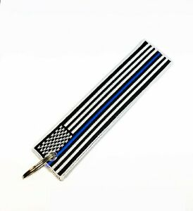 American Flag Keychain Tag with Key Ring with Police Blue Line