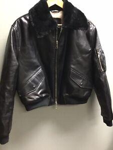 Ladies Black Faux Leather Faux Fur Lined Aviator Bomber Coat All Saints UK 10