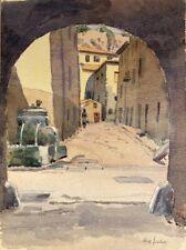 Impressionist Max Jaubert Vaucluse Altstadt Springbrunnen Person 1955 Marseille
