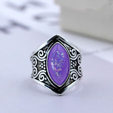 Classic Atmosphere Retro Simple  Silver Jewelry purple opal Ring Size 10