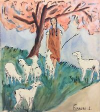 Bergère mouton brebis  aquarelle de L Ferrero circa 1941
