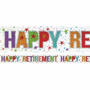Holographic Happy Retirement Multi Coloured Foil Banner Garland  - 2.7m BANN707