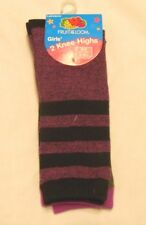 Fruit of the Loom Knee Highs Girls Socks Shoe Size Small 6-10.5