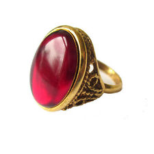Lot 8 Wholesale Vintage 1930's Style Gold Tone Adjustable Ring Ruby Glass Cab