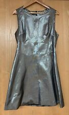 New KAREN MILLEN Limited Edition Metallic Silver Mid Length Dress BNWT Size 14