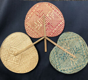 Vintage Lot 3 Colors Red Green Woven Wicker Fans Boho Wall Hanging Decor