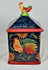 """Susan Winget Canister~Rooster Sunflower """"Sunrise"""" Pattern~Small 1 of 4~9"""""""