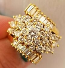 Vintage 1.75CT Baguette Round VS Diamond Cluster 18k yellow gold ring