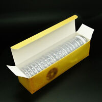20X 51mm*37mm Clear Round Plastic Coin Holder Capsule Container Storage Case Box