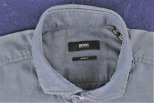 HUGO BOSS dark blue white pinpoint dot slim fit dress shirt size 16.5-36/37