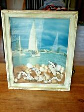 ancien Diorama marin vintage souvenir de plage coquillage mouettes et voiliers