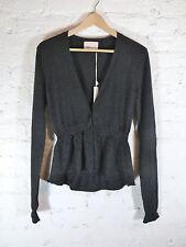 YOON cashmere metallic tweed peplum hem Vneck solid cardigan size S color Black