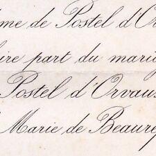 Léonce De Postel D'Orvaux Eure 1868 Marie De Beaurepaire De Louvagny