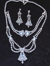 Vintage 1950's Baby Blue Rhinestone Necklace Earrings Bracelet Excellent Cond.