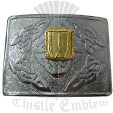 Men's Kilt Belt Buckle Celtic Swirl Drummer Badge Golden/Scottish Belt Buckle