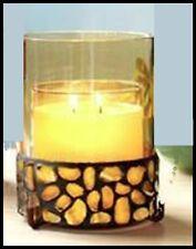 PARTYLITE AURORA CANDLE SLEEVE COLORED STONE GLASS PILLAR JAR HOLDER NIB
