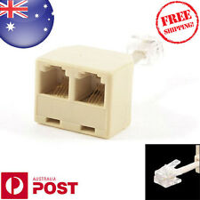 Telephone RJ11 Male Line to Double RJ11 Female Jack Filter Splitter Adapter 004F