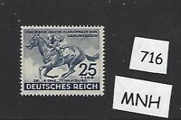 #716     MNH stamp / 1942 Blue ribbon Horse race / Hamburg  / Third Reich
