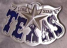 Pewter Belt Buckle Lone Star State of Texas blue NEW