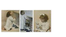 SUITE DE 3  PHOTOS ANCIENNES NOËL daté signé ENFANT FILLETTE ROMAN PHOTO 1921