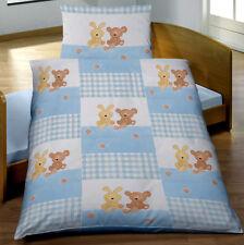 Baby Biber Bettwäsche 100x135 cm Häschen und Bärchen blau