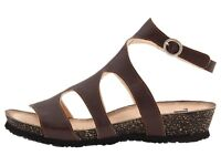 Gladiator Sandals Think! Cork Shoes Size 36 5 5.5 Brown Leather Ankle Strap New