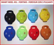 Cover chiave guscio silicone per SMART MOD 451 - FORTWO - FORFOUR con 3 pulsanti