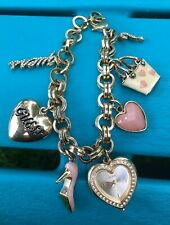 GUESS Charm Bracelet CZ Gold Tone With Heart Shaped Watch Purse High Heels LOVE