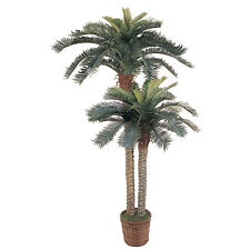 6' And 4' Foot Double Potted Sago Palm Silk Tree Artificial Home Decor