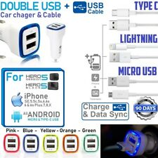 Double USB Universal LED CAR CHARGER W/ 3ft USB Cable For iPhone,GOpro Hero 5,6