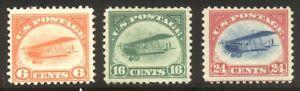 U.S. #C1-3 Mint - 1918 Airmails ($180)